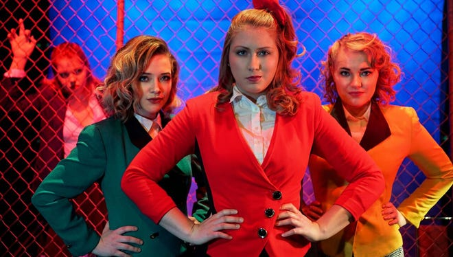 "From left, Carly Jean Paul (in back), Karlee Squires, Kate Fruehling and Shayde Bridges star in ""Heathers, The Musical."""