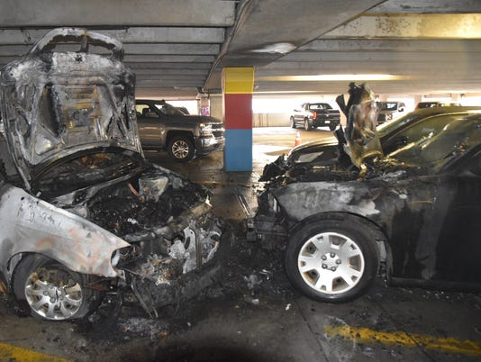 Indianapolis parking garage car fire