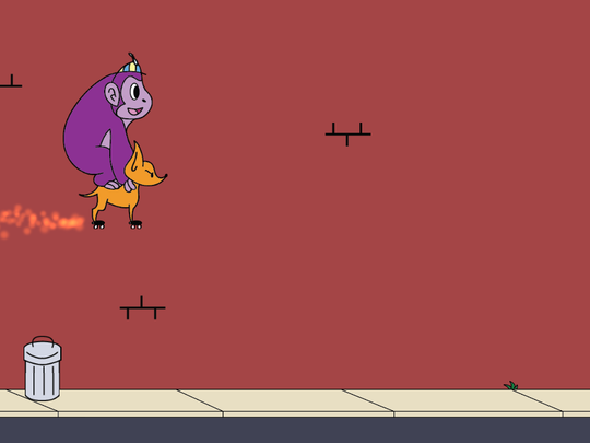 The game features Banana, a purple gorilla, riding around on his Chihuahua friend, Peel. The player's job is to get the pair to jump over trash cans blocking a never-ending sidewalk.