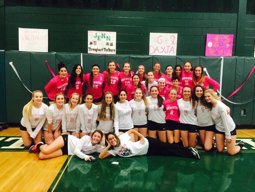 Brewster volleyball raised over $1,000 in its Volley for a Cure. Oct. 20, 2015.