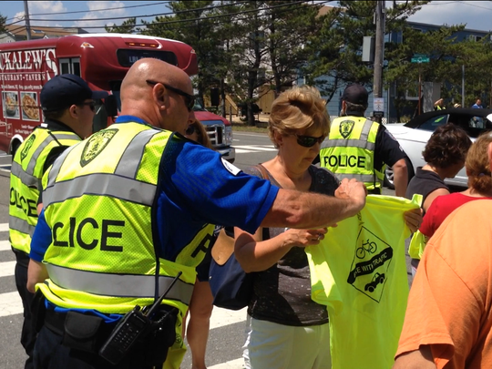 Pedestrian safety demonstrations were conducted at the Street Smart NJ Pedestrian Safety Campaign Kickoff.