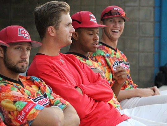 Battle Creek Bombers pitcher Tommy Parsons (far right)