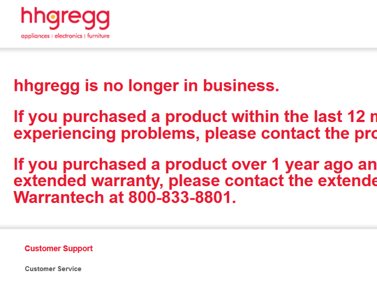 HHGregg is no longer in business. This is what appears