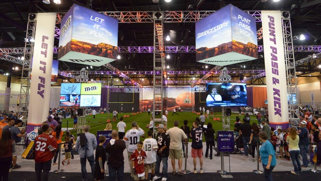 Jan 24, 2015; Phoenix, AZ, USA; Punt, Pass & Kick exhibit at the NFL Experience at Phoenix Convention Center in advance of Super Bowl XLIX between the Seattle Seahawks and the New England Patriots.