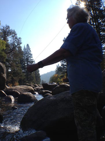Fishing guide Judy Wickwire on the Carson River in
