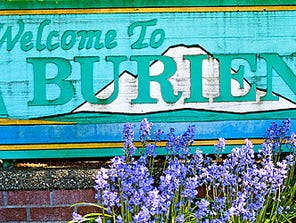 A welcome sign at Burien, Wash.