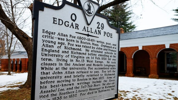 Historic marker related to Edgar Allan Poe's time as