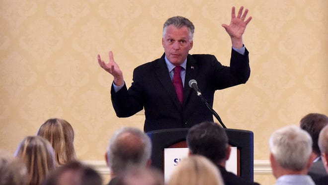 Gov. Terry McAuliffe delivers keynote remarks at the Shenandoah Valley Partnership's annual meeting held at the Stonewall Jackson Hotel on Wednesday, July 22, 2015.