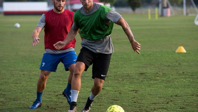 Pensacola FC players workout for clubs new season at the Ashton Brosnaham Soccer Complex. Thursday, May 17, 2018.