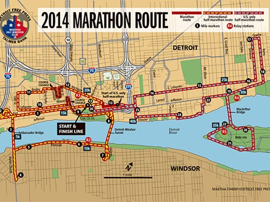 A map of the 37th Detroit Free Press/Talmer Bank Marathon route. For more detailed maps, visit freepmarathon.com.