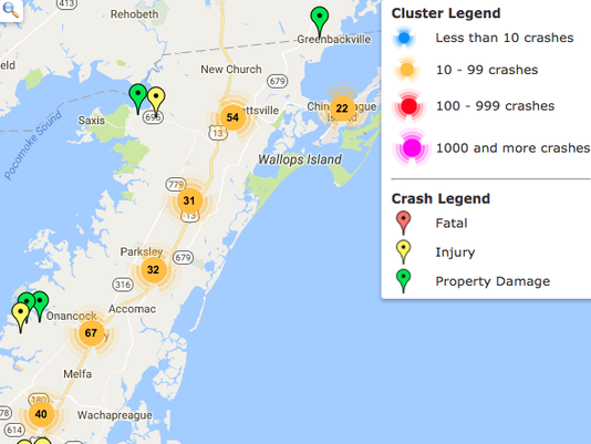 636377950306425452-Locations-of-crashes-in-Accomack-County-in-2017.png