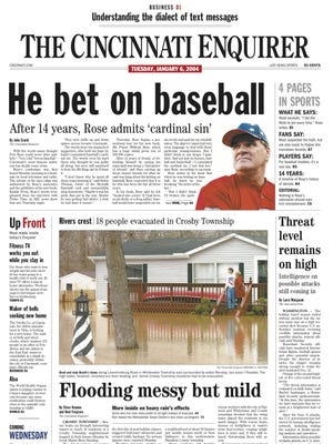 Pete Rose front page January 6, 2004