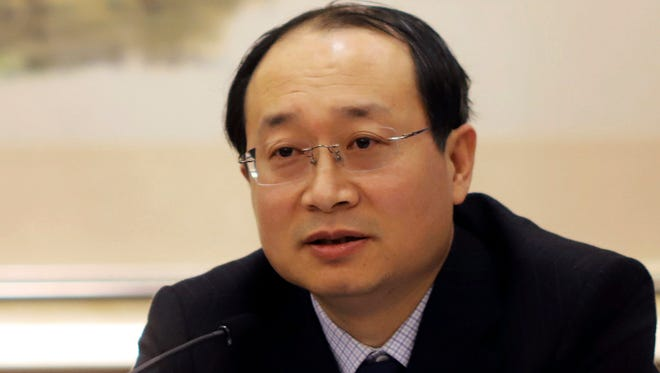 Yu Haibin of the China National Narcotics Control Commission speaks during a press conference in Beijing, China.