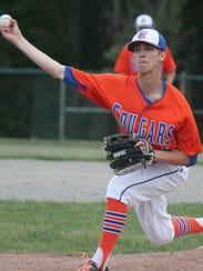 Garden City starting pitcher Brady Spehar sends the