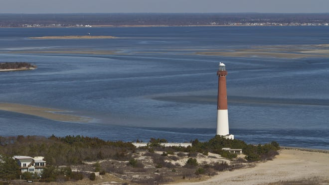 Barnegat Lighthouse stands at the northern point of Long Beach Island.