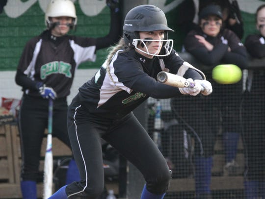 Clear Fork's Carson Crowner bunts the ball while playing