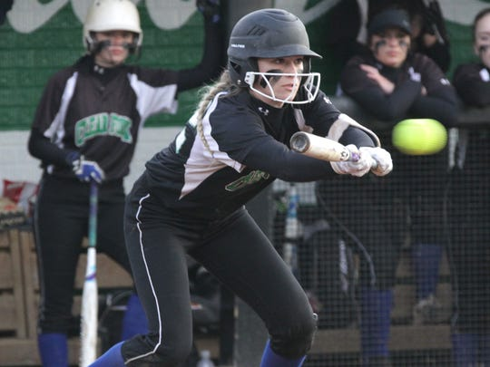 Clear Fork's Carson Crowner bunts the ball while playing a home game against Ontario on Wednesday.