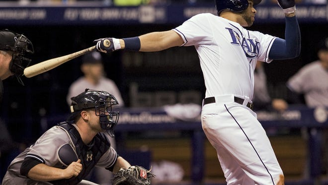 Yankees catcher Brian McCann and Tampa Bay's James Loney watch Loney's two-run double off  pitcher Hiroki Kuroda during the fourth inning of a Friday night's game in St. Petersburg, Fla.