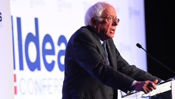 Sen. Bernie Sanders, I-Vt., during the Center for American