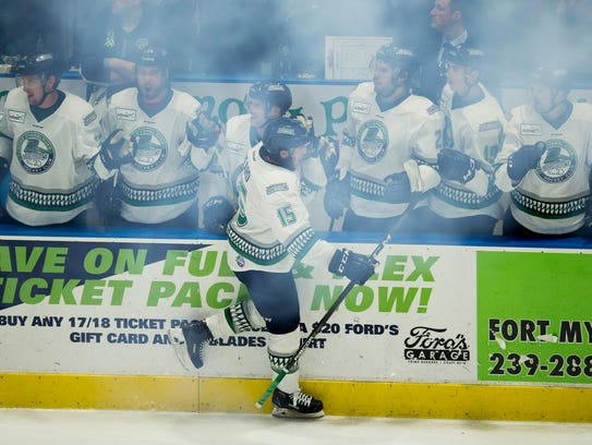 Florida Everblades Mitchell Heard (15) celebrates with his teammates after scoring a goal against the Atlanta Gladiators during the third period of Game 1 of the first round of the ECHL playoffs at Germain Arena on Monday in Estero. Heard would be named the game's MVP. The Everblades dominated the period and won, 4-1.