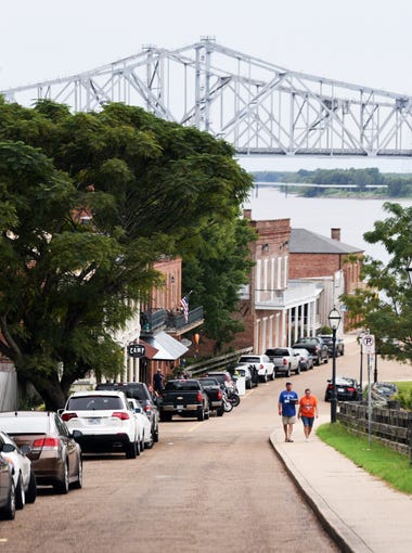 The Under-the-Hill Historic District in Natchez, Mississippi, a small town on the Mississippi River.