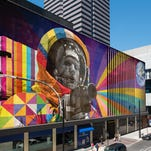 A rendering of a Neil Armstrong mural that will appear on Walnut Street on a side of Fountain Square. It's designed by Eduardo Kobra.