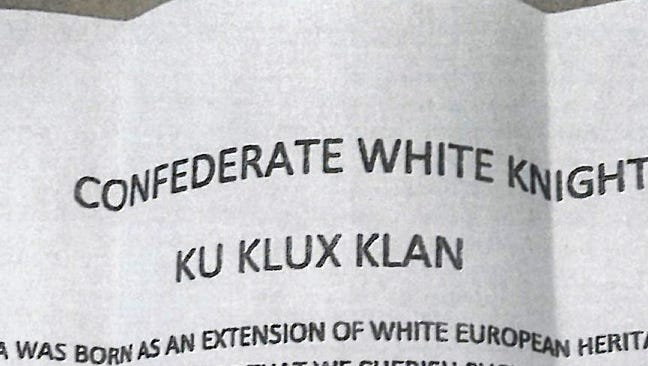 A Franklin-area resident told police Tuesday, Aug. 16, 2016, that someone placed racist literature from the Ku Klux Klan in his mailbox. The homeowner found the leaflet folded in a plastic bag along with what appeared to be bird seed, according to a Johnson County Sheriff's Office report.