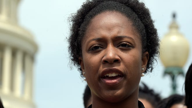In this Thursday, May 4, 2017 photo, American University student government president Taylor Dumpson speaks during a news conference on Capitol Hill in Washington. Dumpson, the first black woman to serve as American University's student government president has sued a neo-Nazi website's publisher, accusing him of orchestrating an online harassment campaign against her. (AP Photo/Susan Walsh)