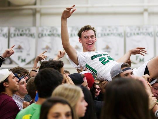 "Fort Myers Senior High Schoolstudents chant ""MVP,"