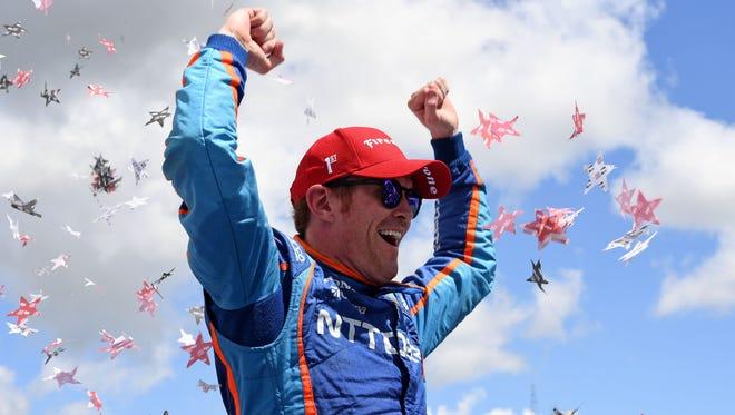 Jun 25, 2017; Elkhart Lake, WI, USA;  Verizon IndyCar Series driver Scott Dixon (9) reacts after winning the Kohler Grand Prix at Road America.
