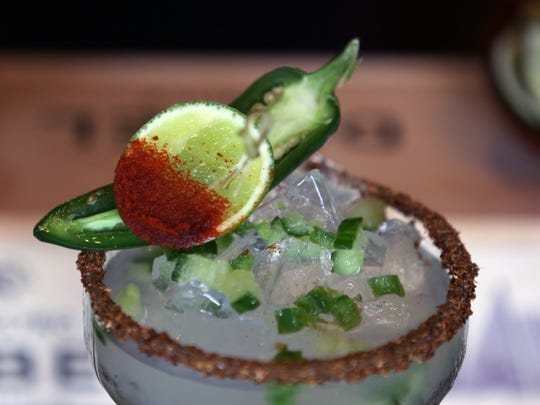 The chili cucumber margarita ($13) at Agave in North