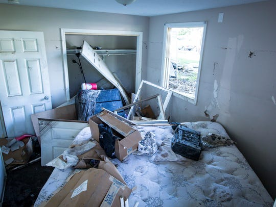 Flood damage to apartments Thursday, July 5, 2018,