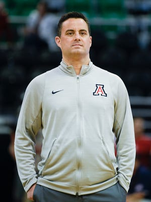 Mar 15, 2017; Salt Lake City, UT, United States; Arizona Wildcats head coach Sean Miller watches practice at Vivint Smart Home Arena.
