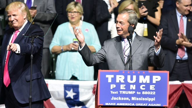 United Kingdom Independence Party leader Nigel Farage speaks at during the Donald Trump campaign rally in August at the Mississippi Coliseum in Jackson.