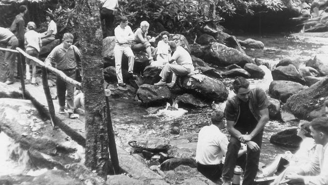 Hikers relax at Indian Camp Creek in the Smokies in this Aug. 12, 1963 photo.