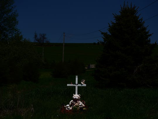 A roadside memorial on McLean Cortland Road in the