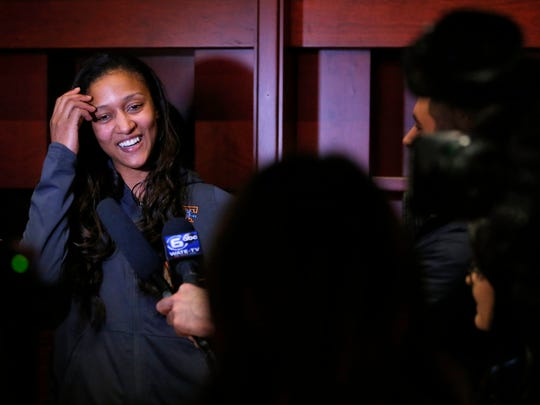 Lady Vols senior Jaime Nared laughs as she is interviewed after the Lady Vols were announced as a host for the first and second rounds of the NCAA Tournament as a number 3 seed during the NCAA women's basketball tournament selection show on Monday, March 12, 2018.