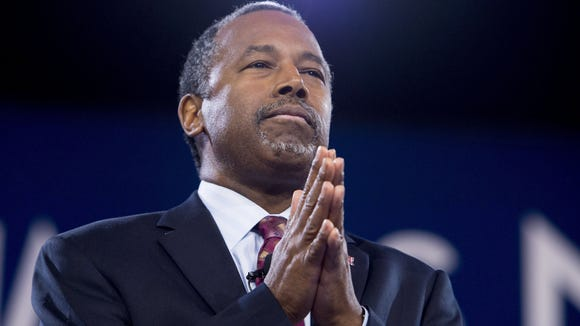 Retired neurosurgeon Ben Carson was selected as Donald Trump's pick for Secretary of Housing and Urban development. This file photo taken on March 5, 2016 shows Carson in Oxon Hill, Md.
