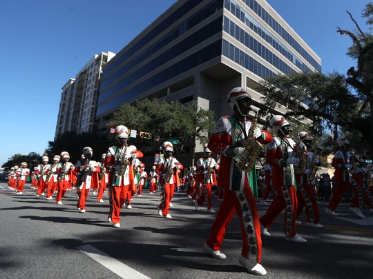 The FAMU Marching 100 struts through Tallahassee as