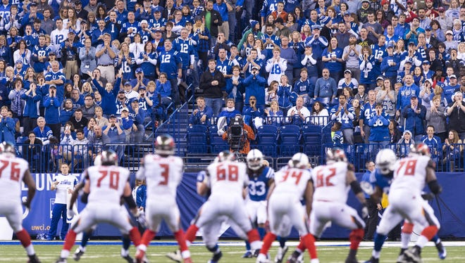 The Colts fans get loud as the Buccaneers run a play during the second half of an NFL football game Sunday, Nov. 29, 2015, at Lucas Oil Stadium. Colts won 25-12.