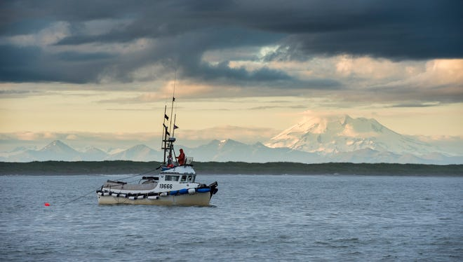 Towing the net at dusk in the shadow of Mt. Peulik in Alaska's Bristol Bay.