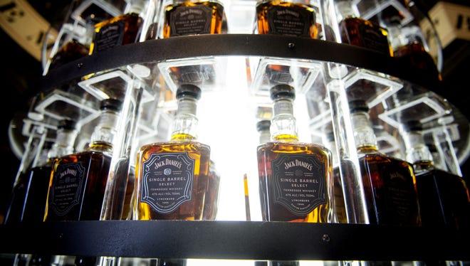 Bottles of Jack Daniel's Single Barrel Select are on display at the Jack Daniel's Distillery in Lynchburg, Tenn. Feb. 26, 2016.