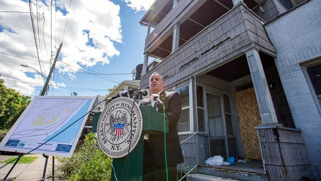 Binghamton Mayor Richard David announced Monday that the city has received a $2.7 million federal grant which will be used to demolish 23 blighted properties located in flood areas around the city of Binghamton.