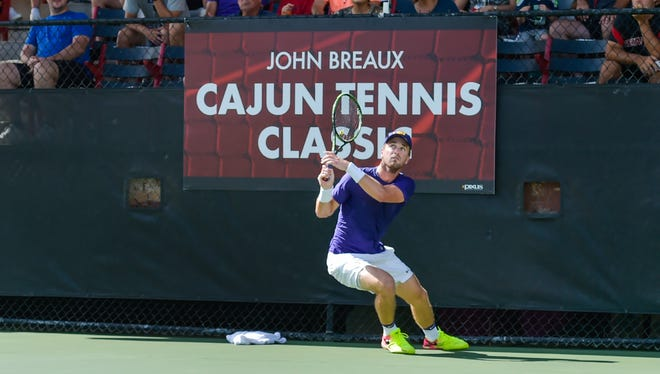 Jordan Daigle of LSU participates in the 2016 Cajun Tennis Classic. The UL men's tennis team annually hosts some of the top teams in the country at the Culotta Tennis Center.
