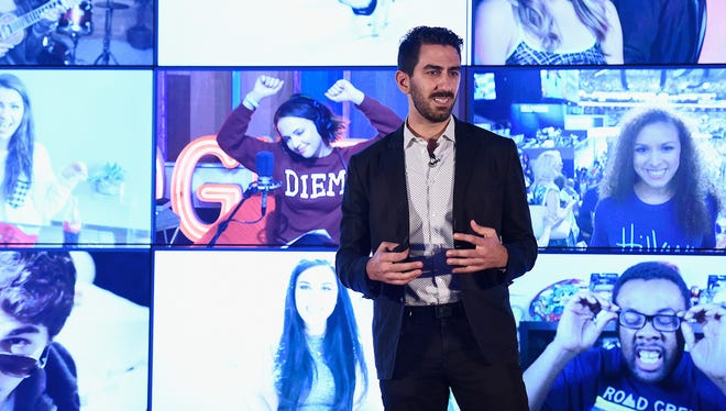 CEO of Fullscreen George Strompolos speaks onstage during AT&T's celebration of the Launch of DIRECTV NOW at Venue 57 on November 28, 2016 in New York City.