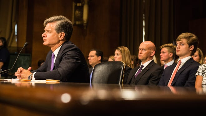 Wray testifies in front of the Senate Judiciary Committee on July 12, 2017.