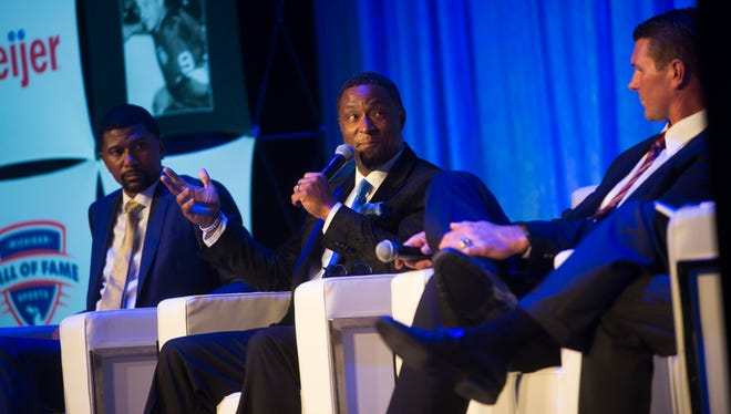 Andre Rison speaks during the Michigan Sports Hall of Fame Induction Ceremony.