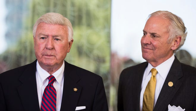 Interim Greenville County Sheriff Johnny Mack Brown, left, and Gov. Henry McMaster speak to members of the press about the indictment of Sheriff Will Lewis on Tuesday, April 17, 2018.