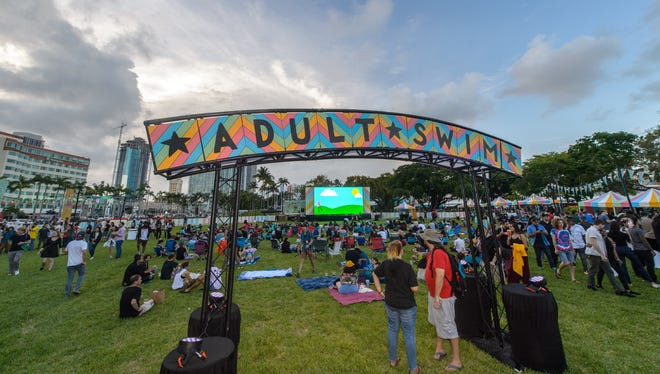 An Adult Swim On The Green event takes place at Bayfront Park in Miami on May 31, 2018. The event features games, unaired Adult Swim content and other activities.