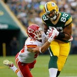 Green Bay Packers tight end Richard Rodgers (89) makes a catch against the Kansas City Chiefs on Aug. 28, 2014, at Lambeau Field in Green Bay.